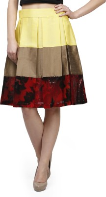 Glam and Luxe Solid Women's Pleated Yellow, Brown, Red Skirt