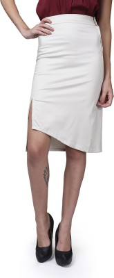 GarrB Solid Women's Pencil Beige Skirt