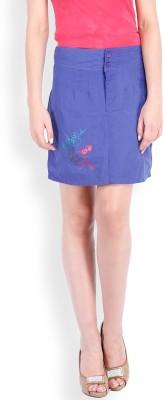 Ten on Ten Printed Women's Regular Blue Skirt