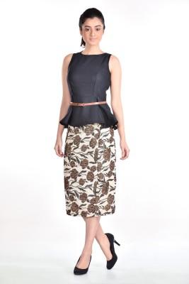 Aaina Floral Print, Printed Women's Pencil Beige Skirt
