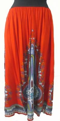 Pure Nautanki Solid Women,s A-line Orange Skirt