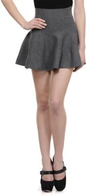 N-Gal Solid Women's Bubble Grey Skirt