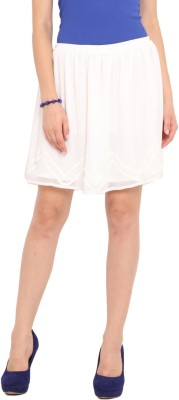 Ama Bella Solid Women's A-line White Skirt