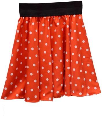 GraceDiva Polka Print Girl's Pleated Orange Skirt