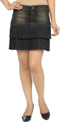 UrSense Self Design Women's Pleated Green Skirt