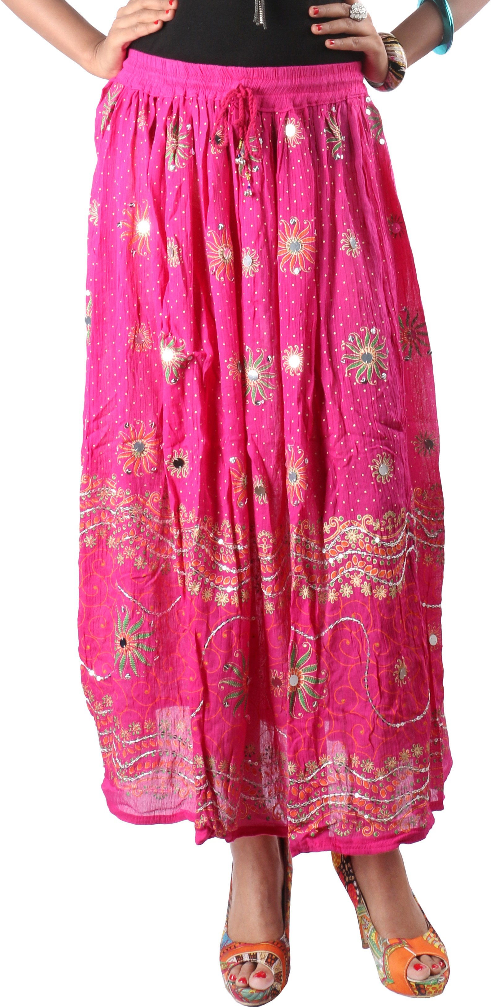 Indiankala4u Printed Womens Broomstick Pink Skirt