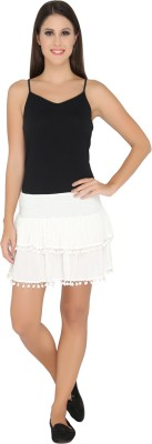 The Beach Company Solid Women,s Layered White Skirt
