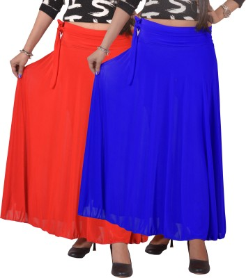 Ace Solid Women's A-line Red, Blue Skirt