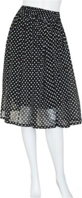 Tara Lifestyle Polka Print Women's Regular Black Skirt