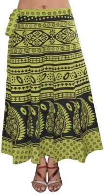 Dimpy Garments Animal Print Women's Wrap Around Green, Black Skirt