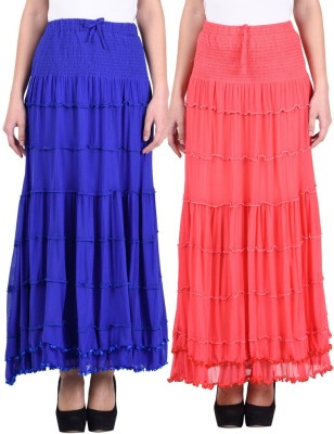 Numbrave Solid Women's Gathered Blue, Pink Skirt