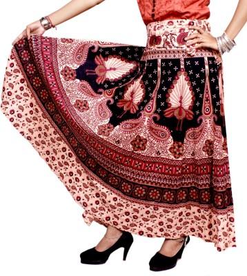 Krishna Mart Printed Women's Wrap Around Brown Skirt