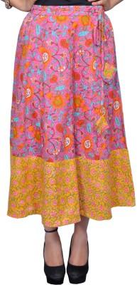 Chidiyadesigns Printed Women's A-line Pink, Yellow Skirt