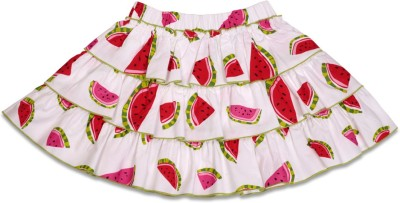 Crayon Flakes Printed Girl's Tiered White Skirt