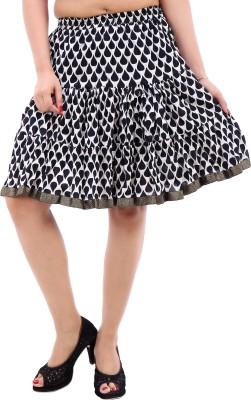 Desert Eshop Printed Women's Pleated White Skirt
