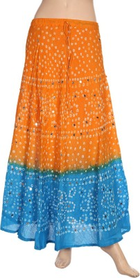 Ooltha Chashma Printed Women's Broomstick Yellow, Blue Skirt