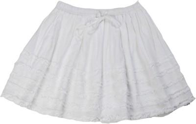 SbuyS Self Design Girl's Regular White Skirt
