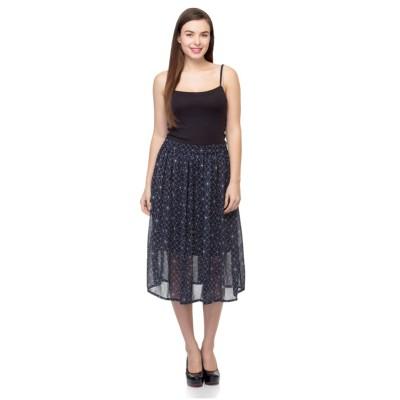 Tara Lifestyle Printed Women's Gathered Blue Skirt