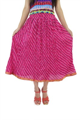 ShopMore Printed Women's Regular Pink Skirt