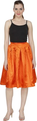 Famous by Payal Kapoor Solid Women's Pleated Orange Skirt