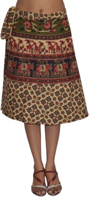 Pezzava Printed Women's Wrap Around Green, Red Skirt at flipkart