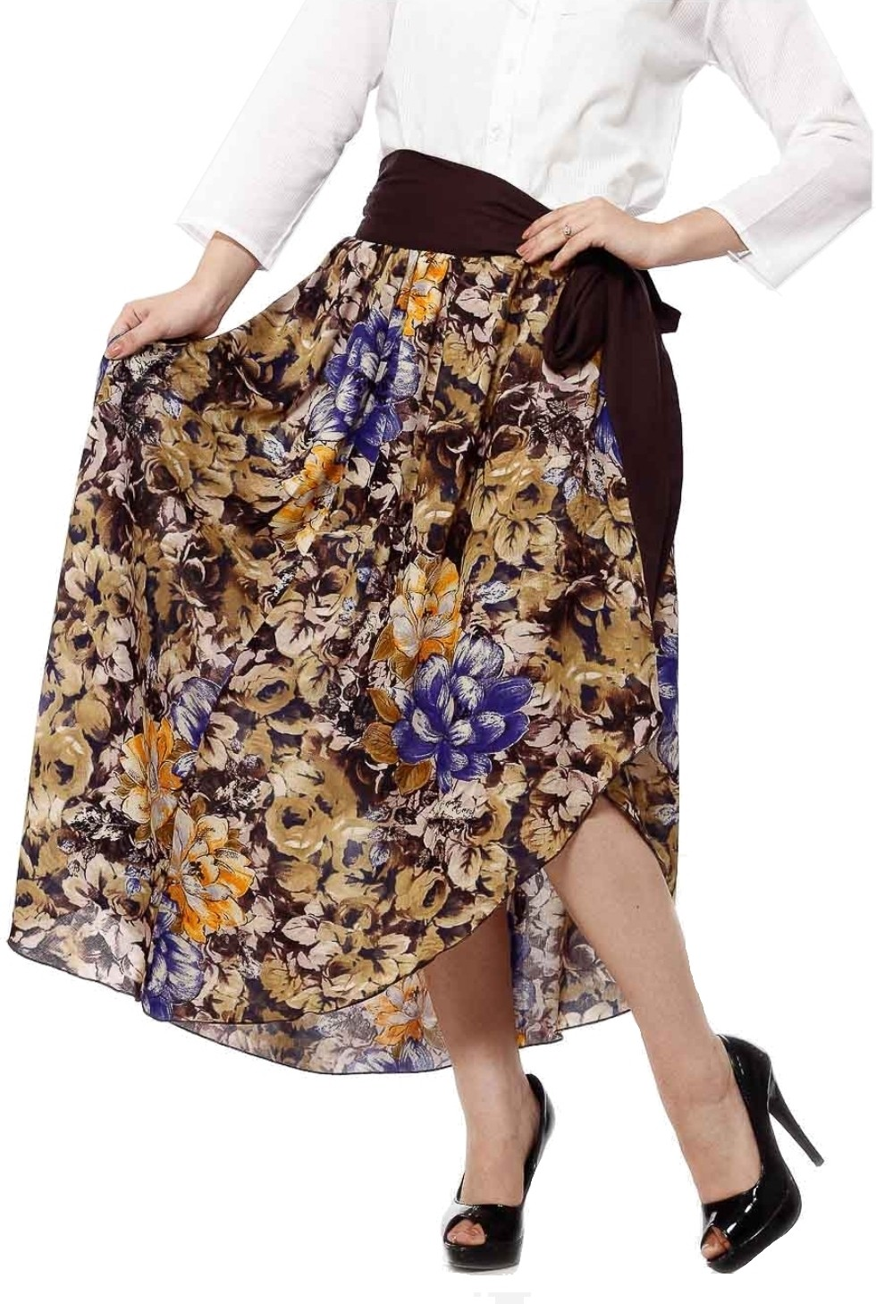 Cottinfab Printed Womens A-line Brown, Multicolor Skirt