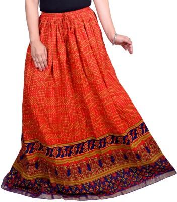 Decot Paradise Printed Women's Regular Orange Skirt