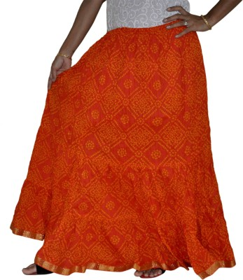 Home Shop Gift Printed Women,s Broomstick Orange Skirt
