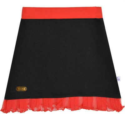 Lil Orchids Solid Girl,s A-line Black Skirt