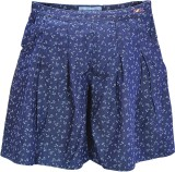 Blue Giraffe Printed Girls Pleated Dark ...