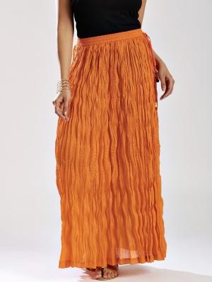 Anouk Solid Women's Broomstick Orange Skirt