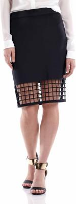Fuziv Self Design Women's Pencil Black Skirt