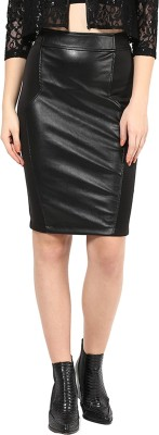 Martini Solid Women's Regular Black Skirt