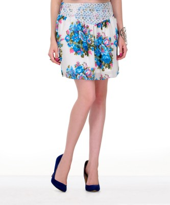 Yepme Solid Women's Pleated White, Blue Skirt at flipkart