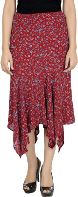 Eves Pret A Porter Printed Women's Asymetric Red Skirt