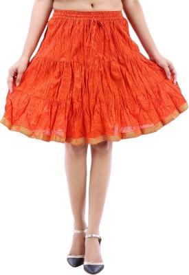 Desert Eshop Printed Women's A-line Orange Skirt