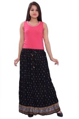 A&K Printed Women's Pleated Black Skirt