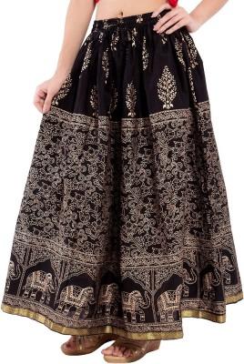 Aanvi Animal Print Women's Regular Black Skirt