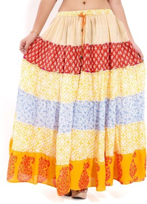 Goodwill Impex Printed Women's Tiered Multicolor Skirt