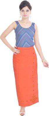 Geroo Embroidered Women,s Wrap Around Orange Skirt