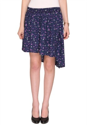 Bedazzle Printed Women's Asymetric Blue Skirt