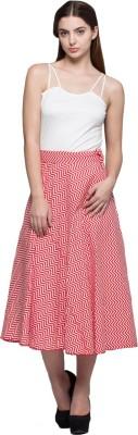 Tryfa Printed Women's Regular Red Skirt