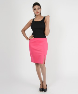 Martini Solid Women's A-line Pink Skirt