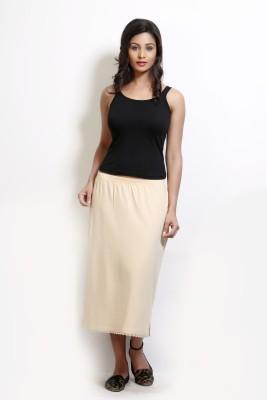 Design Classics Solid Women's Pleated Beige Skirt