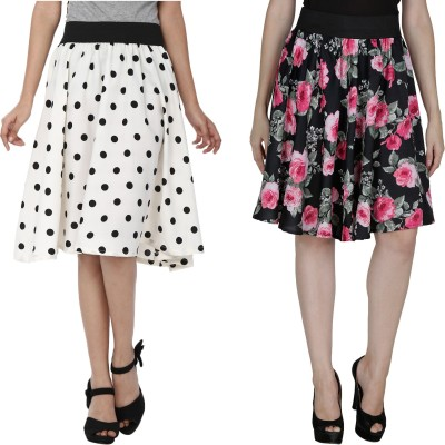 Shopingfever Printed Women's A-line White, Black Skirt