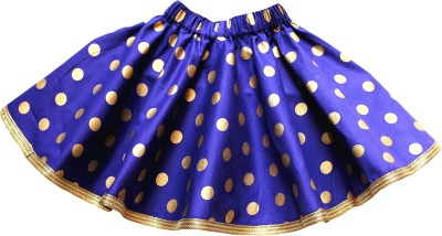 Little Leaf Polka Print Girl's Gathered Blue Skirt