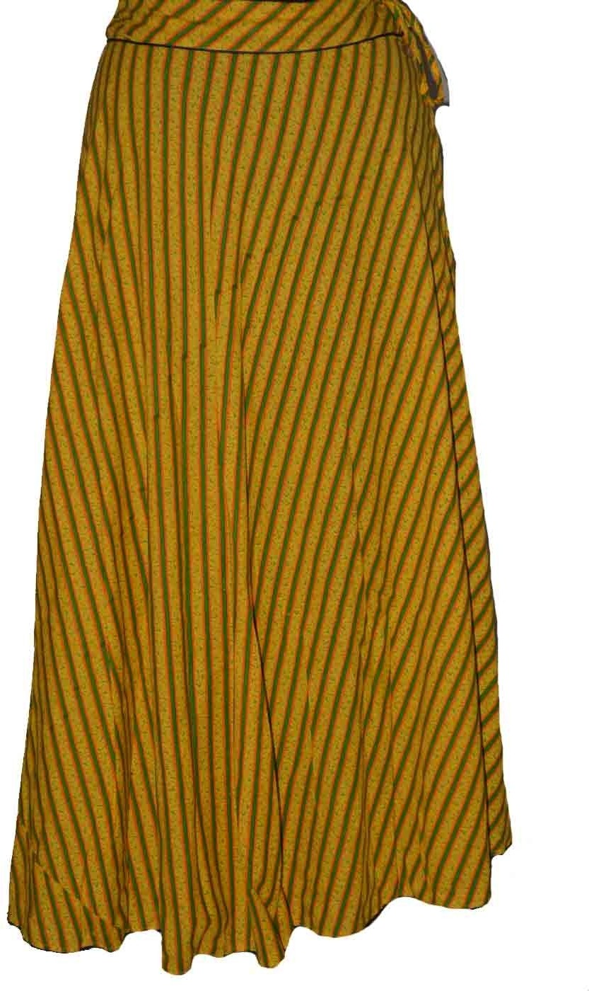 Alicolours Printed Womens Broomstick Yellow Skirt