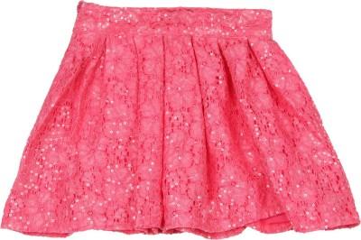 Elle Kids Self Design Girls Pleated Pink Skirt at flipkart