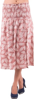 Indi Bargain Printed Women's A-line Brown Skirt