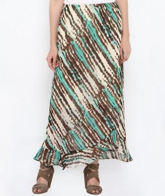 Philigree Striped Women's Tulip White, Green Skirt